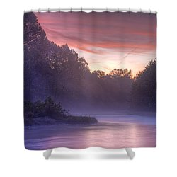 Cold Blue Mist Shower Curtain