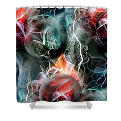 Shower Curtain featuring the digital art Cold Colors Smoke At Night By Nico Bielow by Nico Bielow