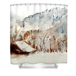 Shower Curtain featuring the mixed media Cold Cove by Seth Weaver