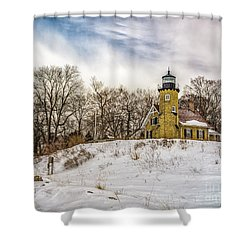 Shower Curtain featuring the photograph Cold Day At White River Lighthouse by Nick Zelinsky