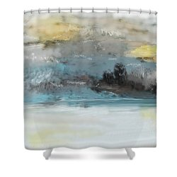 Cold Day Lakeside Abstract Landscape Shower Curtain by David Lane