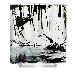 Cold Snow Hill Trees Multimedia Sketch Washington Dc Fine Art Shower Curtain