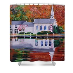 Cold Spring Harbor St Johns Church Shower Curtain by Nereida Rodriguez