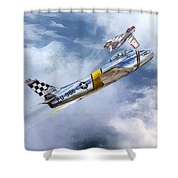 Cold War Clash Shower Curtain by Peter Chilelli