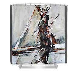 Shower Curtain featuring the painting Cold Winter Day by Cher Devereaux
