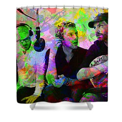Coldplay Band Portrait Paint Splatters Pop Art Shower Curtain by Design Turnpike