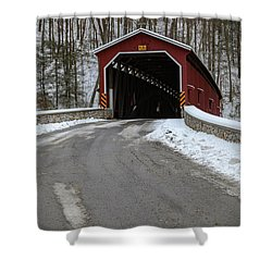 Colemansville Covered Bridge After Winter Snow Shower Curtain