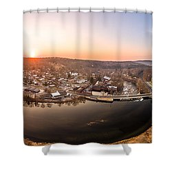 Colinsville, Connecticut Sunrise Panorama Shower Curtain by Petr Hejl