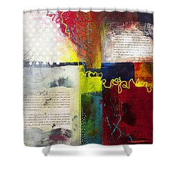 Shower Curtain featuring the painting Collage Art 3 by Patricia Lintner