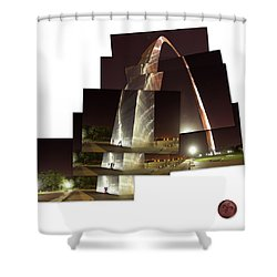 Collage Of Gateway Arch At Night Shower Curtain by Garry McMichael