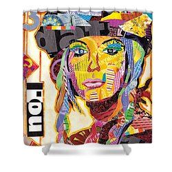 Collage Portrait Shower Curtain by Oprisor Dan