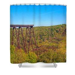 Collapsed Kinzua Railroad Bridge Shower Curtain by Randy Steele
