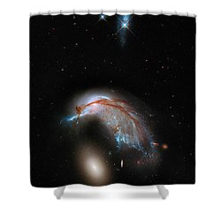 Shower Curtain featuring the photograph Colliding Galaxy by Marco Oliveira