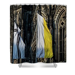 Cologne Cathedral Flags Shower Curtain