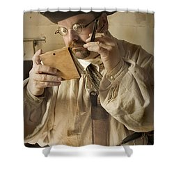Shower Curtain featuring the photograph Colonial Man Shaving by Kim Henderson