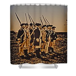 Colonial Soldiers On Parade Shower Curtain by Bill Cannon