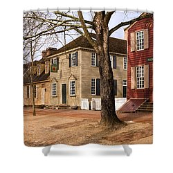 Colonial Street Scene Shower Curtain by Sally Weigand