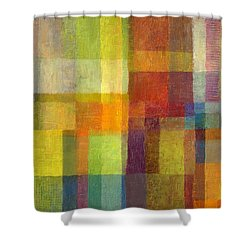 Shower Curtain featuring the painting Color Collage With Green And Red 2.0 by Michelle Calkins