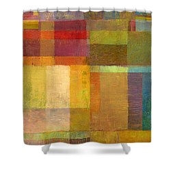 Shower Curtain featuring the painting Color Collage With Green And Red by Michelle Calkins