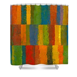 Shower Curtain featuring the painting Color Collage With Stripes by Michelle Calkins