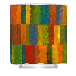 Color Collage With Stripes Shower Curtain by Michelle Calkins