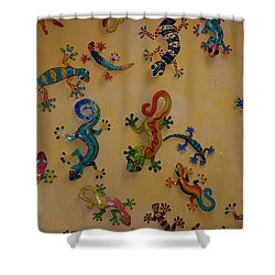 Color Lizards On The Wall Shower Curtain by Rob Hans