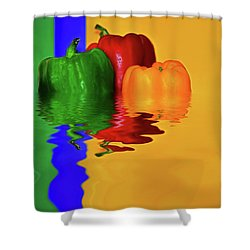 Shower Curtain featuring the photograph Color Pop Peppers By Kaye Menner by Kaye Menner