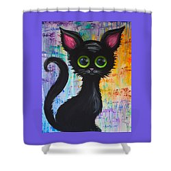 Color Rain And A Cat Shower Curtain