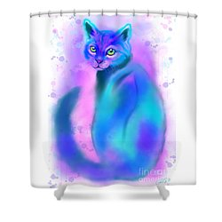 Shower Curtain featuring the painting Color Wash Cat by Nick Gustafson