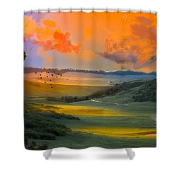 Colorado Big Valley Sunrise Shower Curtain