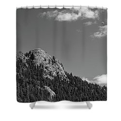 Shower Curtain featuring the photograph Colorado Buffalo Rock With Waxing Crescent Moon In Bw by James BO Insogna