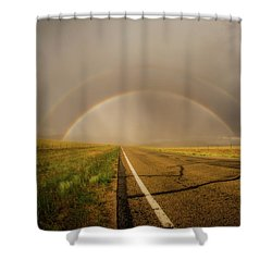 Shower Curtain featuring the photograph Colorado Double Rainbow by Chris Bordeleau