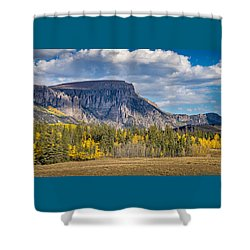 Colorado Fall Landscape With Aspen Trees Between Creede And Lake Shower Curtain