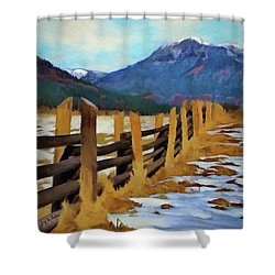Shower Curtain featuring the painting Colorado Fence Line  by Jeff Kolker
