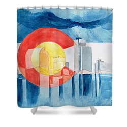 Shower Curtain featuring the painting Colorado Flag by Andrew Gillette