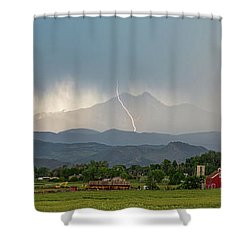 Shower Curtain featuring the photograph Colorado Front Range Lightning And Rain Panorama View by James BO Insogna