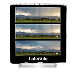 Shower Curtain featuring the photograph Colorado Front Range Longs Peak Lightning And Rain Poster by James BO Insogna