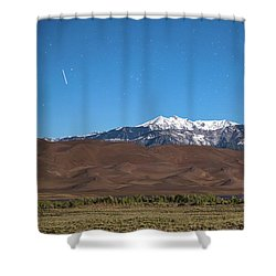 Colorado Great Sand Dunes With Falling Star Shower Curtain by James BO Insogna
