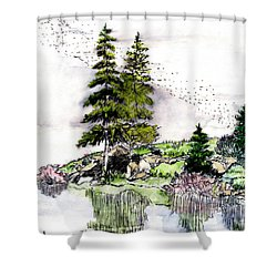 Colorado Lake Reflections Shower Curtain