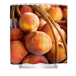 Colorado Peaches In Basket Shower Curtain by Teri Virbickis