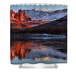 Shower Curtain featuring the photograph Colorado Red Tower Reflections by Adam Jewell