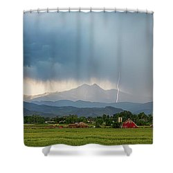 Shower Curtain featuring the photograph Colorado Rocky Mountain Red Barn Country Storm by James BO Insogna