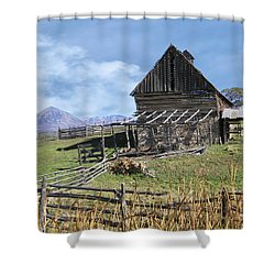 Colorado Rocky Mountain Vintage Barn   Shower Curtain