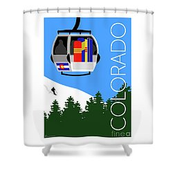 Colorado Ski Country Blue Shower Curtain