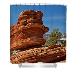 Shower Curtain featuring the photograph Colorado Springs Balanced Rock by Adam Jewell