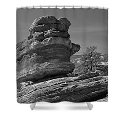 Shower Curtain featuring the photograph Colorado Springs Balanced Rock Black And White by Adam Jewell