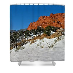 Shower Curtain featuring the photograph Colorado Winter Red Rock Garden by Adam Jewell