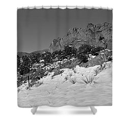 Shower Curtain featuring the photograph Colorado Winter Rock Garden Black And White by Adam Jewell
