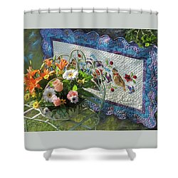 Shower Curtain featuring the mixed media Colordance With Quail Quilt by Nancy Lee Moran