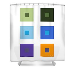 Colored 6 Squares. Shower Curtain